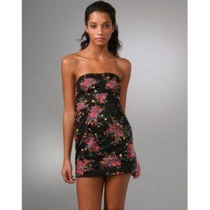 Free People Strapless Floral Print Mini Dress NWOT